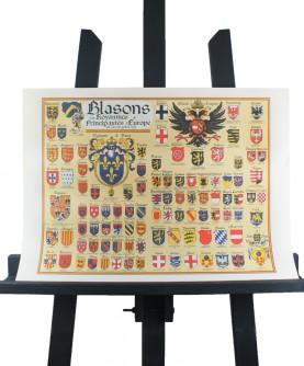 Carte des Blasons des Royaumes & Principautés d'Europe (1519)