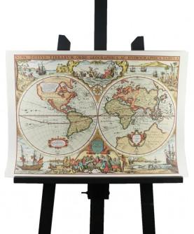 Carte de la Mappemonde marine au XVII° siècle