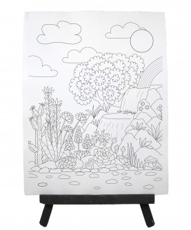Drawing ready to paint LANDSCAPE WATERFALL