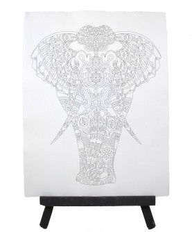 Drawing ready to paint ELEPHANT