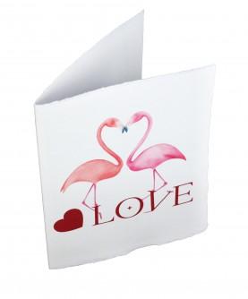 """Carte """"Love"""" - Flamands roses"""