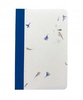 """Carnet bords arrondis """"fleurs bleues"""""""