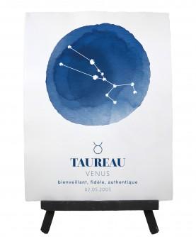 """Affiche zodiaque personnalisée """"bleue"""" 25x33cm"""