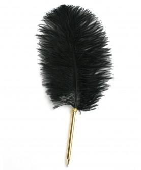 Stylo plume d'autruche noire