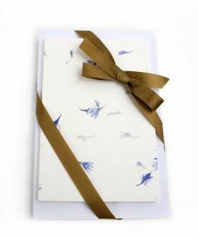 25 cartes coton fleurs bleues avec enveloppes
