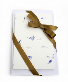 25 cotton and blue flowers paper cards with envelopes
