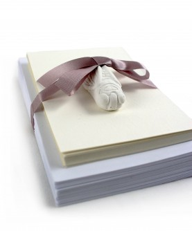 25 white cotton cards with envelopes and cicada