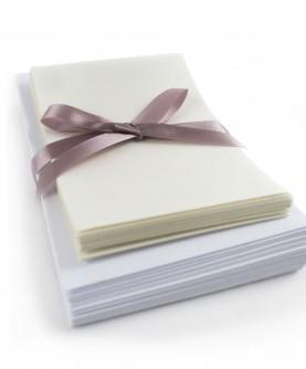25 cartes coton blanc avec enveloppes