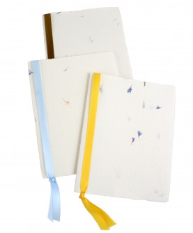 Rag flowers paper notebook with ribbon