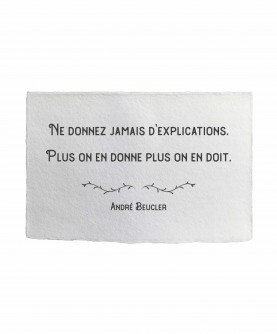 Carte citation inspirante 9 : Ne donnez jamais... A. Beucler