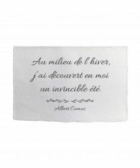 Carte citation inspirante 15 : Au milieu de l'hiver A.Camus