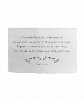 Carte citation inspirante 21 : Se connaître Lao Tseu
